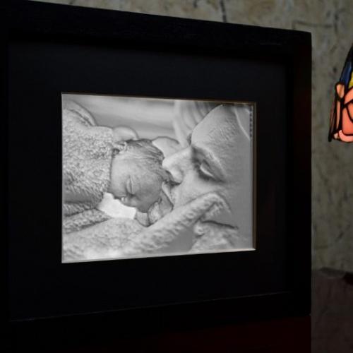 5x7 Framed Lithophane Father lit