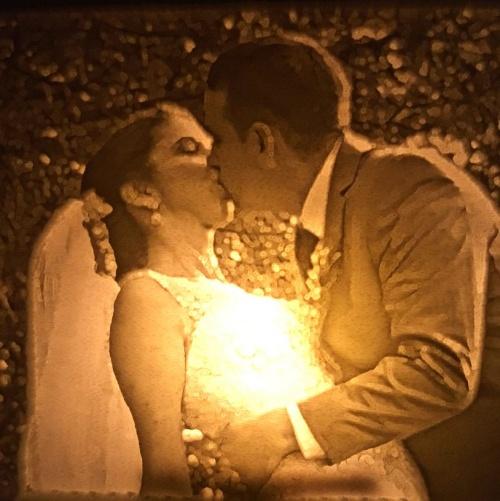 The Kiss nightlight lit